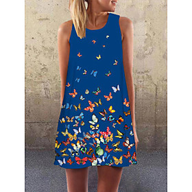 Women's A-Line Dress Short Mini Dress - Sleeveless Print Summer Casual Mumu 2020 Blue Red S M L XL XXL XXXL