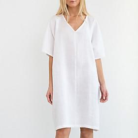 Women's A-Line Dress Knee Length Dress - Half Sleeve Solid Color V Neck Loose White Black Yellow Khaki S M L XL XXL 3XL 4XL 5XL