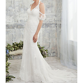 Mermaid / Trumpet Wedding Dresses Halter Neck Court Train Lace Tulle Half Sleeve Sexy Backless Illusion Sleeve with Embroidery 2020