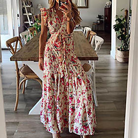 Women's Maxi Sundress Dress - Sleeveless Print Summer V Neck Boho Daily Ruffle Red S M L XL