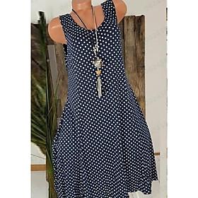 Women's A Line Dress - Sleeveless Polka Dot Summer Street chic 2020 Black Red Navy Blue Gray S M L XL