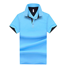 Men's Solid Colored Patchwork Polo Basic Daily Work White / Black / Blue / Light gray / Light Blue