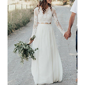 A-Line Wedding Dresses Jewel Neck Sweep / Brush Train Lace Chiffon Over Satin Long Sleeve Beach Boho Sexy See-Through with Embroidery 2020