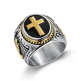 Men's Ring 1pc Gold Silver Titanium Steel Round Vintage Gift Festival Jewelry Classic Cross