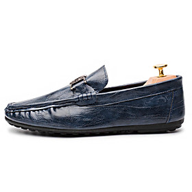 Men's Summer / Fall Classic / British Daily Home Loafers  Slip-Ons Walking Shoes Nappa Leather Black / Blue