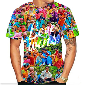 Love Wins Men's 3D Graphic Red Print T-shirt Basic Exaggerated Daily Sports Rainbow