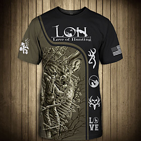 Men's 3D Animal Deer Print T-shirt Street chic Punk  Gothic Club Weekend Round Neck Black / Yellow / Green / Brown / Short Sleeve