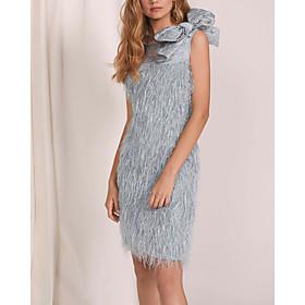 Sheath / Column Flapper Elegant Homecoming Wedding Guest Dress Jewel Neck Sleeveless Short / Mini Lace with Bow(s) 2020