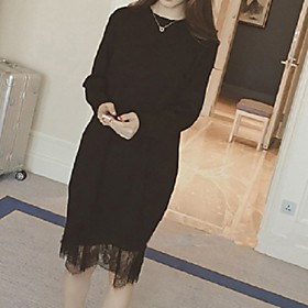 Women's A Line Dress - Long Sleeve Solid Color Summer Fall Casual Holiday Going out Slim 2020 Black M L XL XXL XXXL