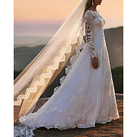 A-Line Wedding Dresses Off Shoulder Sweep / Brush Train Lace Tulle Long Sleeve Romantic See-Through with Beading 2020