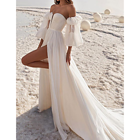 A-Line Wedding Dresses Off Shoulder Strapless Court Train Chiffon Over Satin 3/4 Length Sleeve Sexy with Split Front 2020