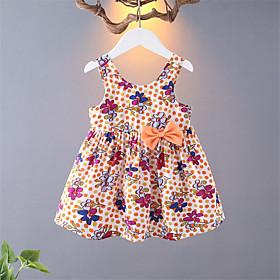 Toddler Girls' Sweet Polka Dot Print Sleeveless Above Knee Dress Yellow