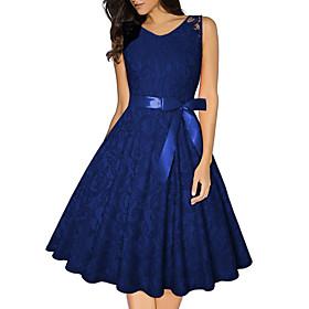 Women's A-Line Dress Knee Length Dress - Sleeveless Geometric Summer Streetwear 2020 Blushing Pink Wine Navy Blue Beige S M L XL XXL 3XL 4XL