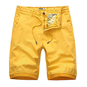 Men's Basic Daily Holiday Slim Cotton Chinos Shorts Pants Solid Colored Drawstring Breathable Summer Yellow Army Green Orange US36 / UK36 / EU44 US38 / UK38 /