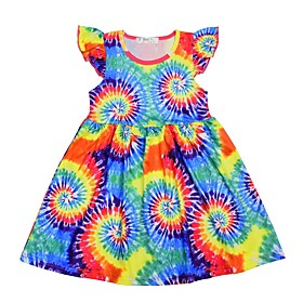 Kids Girls' Tie Dye Dress Rainbow