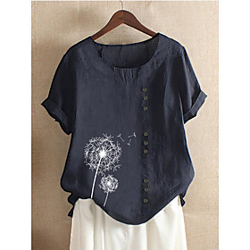 Women's Blouse Shirt Floral Flower Print Round Neck Tops Loose Cotton Basic Basic Top Blue Purple Blushing Pink
