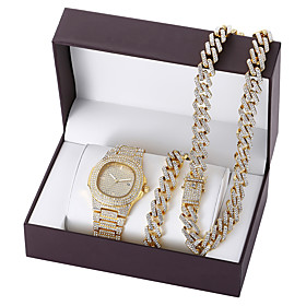 Men's Steel Band Watches Quartz Formal Style Modern Style Luxury Altimeter Analog WhiteGolden WhiteSilver Black / Calendar / date / day / Chronograph / Luminou