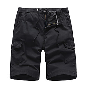 Men's Basic Daily Holiday Slim Cotton Shorts Tactical Cargo Pants Solid Colored Breathable Summer Black Army Green Khaki US34 / UK34 / EU42 US36 / UK36 / EU44