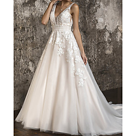 A-Line Wedding Dresses V Neck Sweep / Brush Train Tulle Sleeveless Formal with Appliques 2020