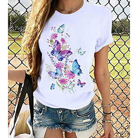 Women's T-shirt Butterfly Graphic Prints Round Neck Tops Loose 100% Cotton Basic Top White Black Blue