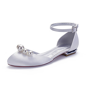 Women's Wedding Shoes Spring / Summer Flat Heel Round Toe Classic Sweet Wedding Party  Evening Imitation Pearl Solid Colored Satin White / Black / Purple