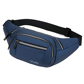Men's Bags Nylon Fanny Pack Zipper Solid Color for Daily Black / Blue / Dark Gray / Brown
