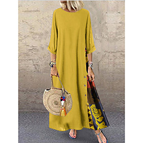 Women's A-Line Dress Maxi long Dress - Half Sleeve Patchwork Button Print Summer Plus Size Casual Hot Holiday Loose 2020 Red Yellow Wine Green Navy Blue Gray L