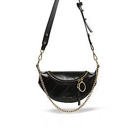 Women's Bags PU Leather Sling Shoulder Bag Zipper Solid Color for Daily Wine / White / Black / Green