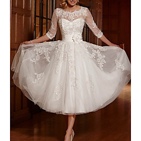 A-Line Wedding Dresses Jewel Neck Ankle Length Lace Tulle 3/4 Length Sleeve Vintage 1950s with Appliques 2020