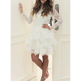 Ball Gown Wedding Dresses Jewel Neck Short / Mini Lace Tulle Long Sleeve Casual Little White Dress See-Through with Cascading Ruffles 2020