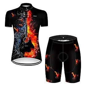 21Grams Women's Short Sleeve Cycling Jersey with Shorts Nylon Polyester Black / Red 3D Gradient Funny Bike Clothing Suit Breathable 3D Pad Quick Dry Ultraviole