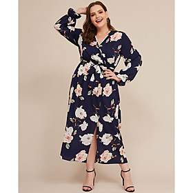 Women's A-Line Dress Maxi long Dress - Long Sleeve Print Fall V Neck Plus Size Casual 2020 Blue XXL 5XL