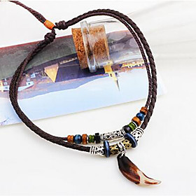 Men's Pendant Necklace Braided Folk Style Leather Resin Brown 45 cm Necklace Jewelry For