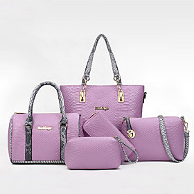 Women's Bags PU Leather Bag Set Zipper Solid Color for Daily Black / Purple / Beige / Gray / Bag Sets