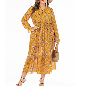 Women's A-Line Dress Midi Dress - Long Sleeve Floral Summer V Neck Plus Size Casual Boho Loose 2020 Yellow XL XXL 3XL 4XL 5XL 6XL
