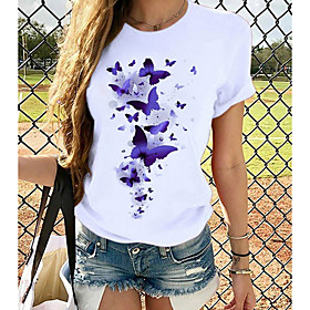 Women's T-shirt Butterfly Graphic Prints Round Neck Tops Loose 100% Cotton Basic Top White Purple Yellow