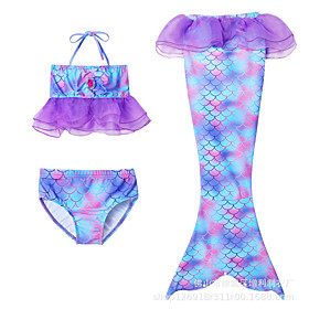 Kids Toddler Girls' Active Cute Mermaid Tail Polka Dot Color Block Lace up Sleeveless Swimwear Purple