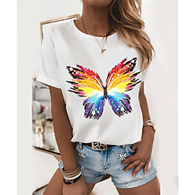 Women's T-shirt Butterfly Heart Graphic Prints Round Neck Tops Loose 100% Cotton Basic Top Panda White Black