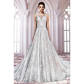 A-Line Wedding Dresses Jewel Neck Sweep / Brush Train Lace Tulle Sleeveless Formal Sexy See-Through with Embroidery 2020
