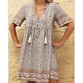 Women's A-Line Dress Knee Length Dress - Short Sleeve Floral Summer V Neck Casual Hot vacation dresses Loose 2020 Light Brown S M L XL XXL 3XL
