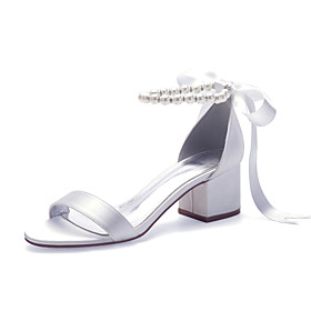 Women's Wedding Shoes Spring / Summer Cuban Heel Open Toe Classic Sweet Minimalism Wedding Party  Evening Imitation Pearl / Lace-up Solid Colored Satin White /
