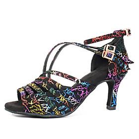 Women's Latin Shoes / Salsa Shoes Suede Buckle Heel Buckle Cuban Heel Customizable Dance Shoes Rainbow