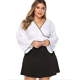 Women's Going out Plus Size Blouse Shirt Solid Colored Long Sleeve V Neck Tops Basic Top White