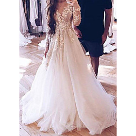 A-Line Wedding Dresses V Neck Sweep / Brush Train Lace Tulle Long Sleeve Sexy Illusion Sleeve with Appliques 2020
