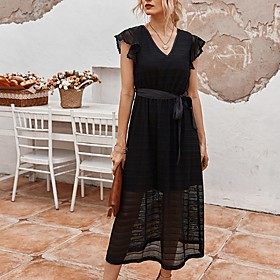 Women's A-Line Dress Midi Dress - Short Sleeve Solid Color Summer V Neck Casual 2020 White Black S M L XL