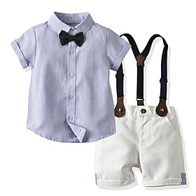 Toddler Boys' Basic Color Block Short Sleeve Clothing Set Light Blue Fabric:Cotton; Sleeve Length:Short Sleeve; Gender:Boys'; Style:Basic; Kids Apparel:Clothing Set; Age Group:Toddler; Pattern:Color Block; Front page:FF; Listing Date:06/04/2020; Bust:; Length [Bottom]:; Length [Top]: