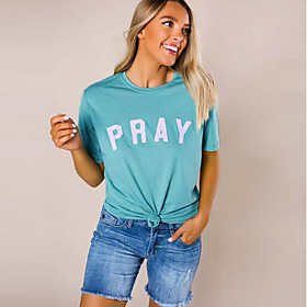 Women's T-shirt Letter Round Neck Tops Basic Top Blue