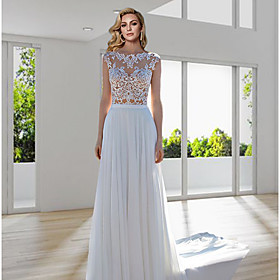 A-Line Wedding Dresses Jewel Neck Sweep / Brush Train Lace Tulle Cap Sleeve Beach Boho Sexy See-Through with Embroidery 2020