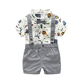Kids Boys' Basic Print Short Sleeve Clothing Set Gray Fabric:Cotton; Sleeve Length:Short Sleeve; Gender:Boys'; Style:Basic; Kids Apparel:Clothing Set; Age Group:Kids; Pattern:Print; Front page:FF; Listing Date:06/02/2020; Bust:; Length [Bottom]:; Length [Top]: