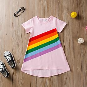 Kids Girls' Active Cute Striped Print Short Sleeve Above Knee Dress Blushing Pink